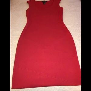 Red scoop neck knit stretch dress
